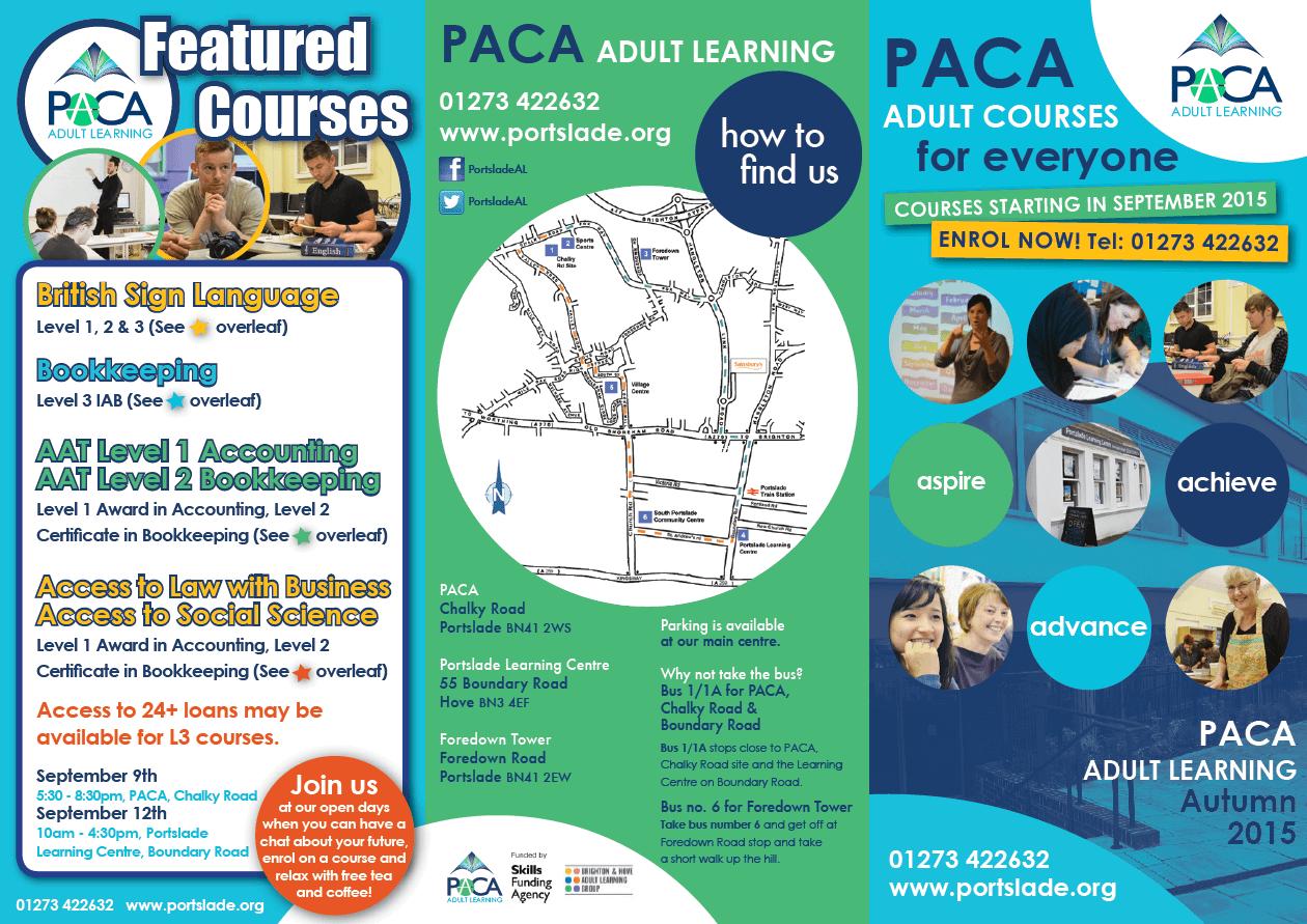 3 fold flyer design PACA Adult Learning