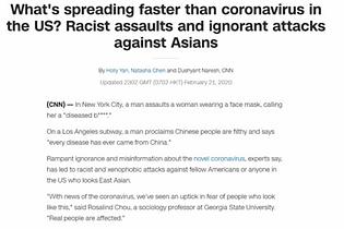 Racism in the USA during Coronavirus