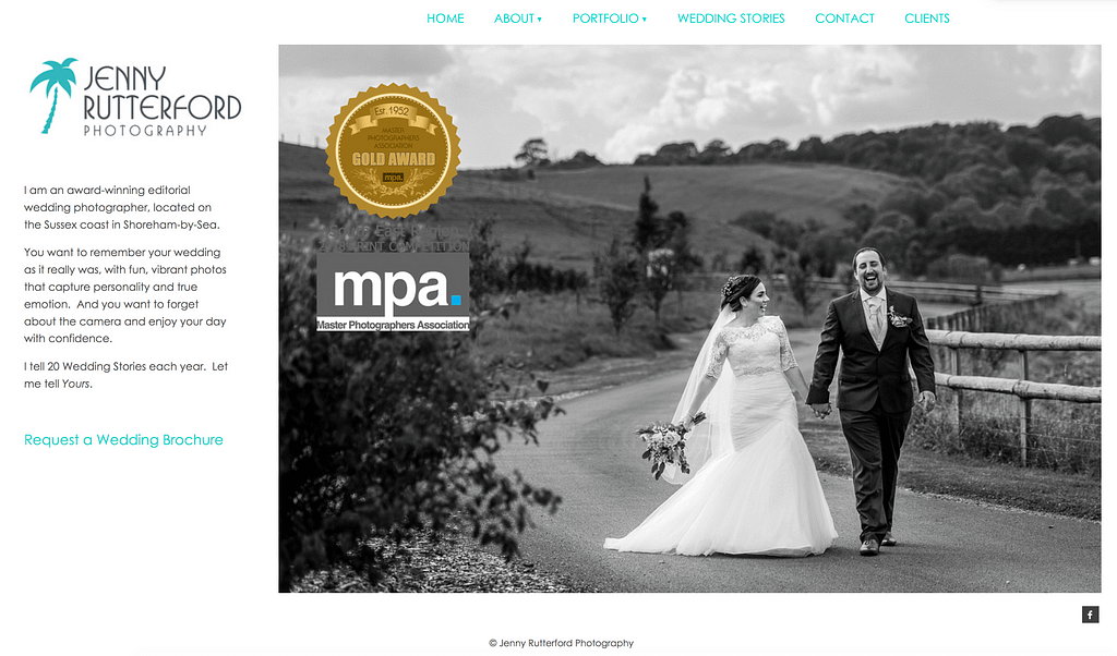 Jenny Rutterford Photography is a good example of a business website that speaks directly to its customers