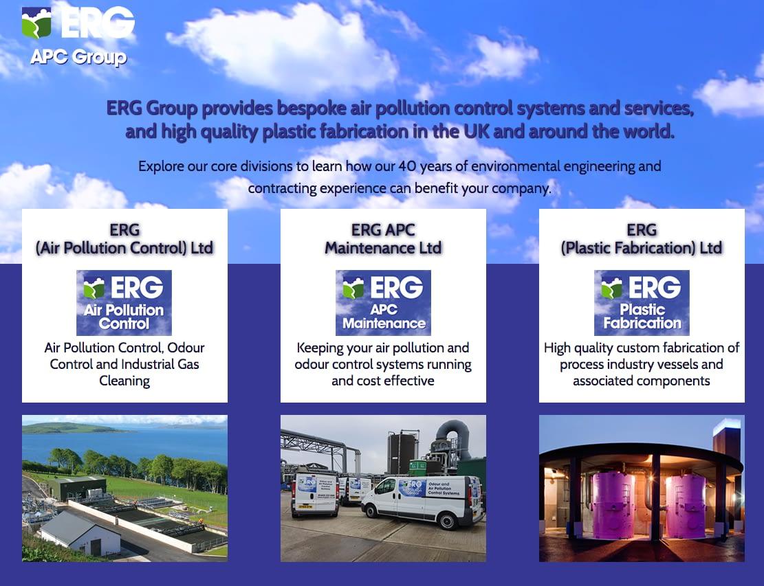 Web design for ERG Group