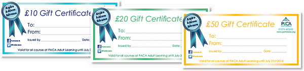 Shake up your Christmas shopping with the gift of learning - PACA Adult Learning Sussex Gift certificates