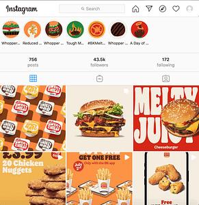 Burger King Instagram Page Screenshot