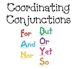 Coordinating Conjunctions List