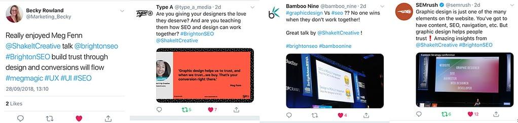 Twitter action after Meg's Brighton SEO talk, Brighton September 28th, 2018